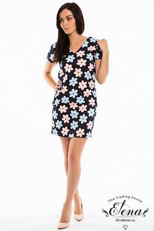 """Платье Платье с коротким рукавом, приталенное. Выполнено из х/б полотна """"джинса"""".Горловина имеет V-образный вырез, по бокам расположены карманы. Размерный ряд: 42-56. Состав Хлопок 95% Лайкра 5% Арт"""
