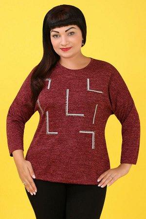 Бордовый Примечание: замеры длин соответствуют размеру 54. Длина блузы: 65 см. Длина рукава: 49 см. Подкладка: нет. Застёжка: нет. Карманы: нет. Декор: бусины. Состав: хлопок 65%, спандекс 35%.