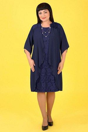 2Г 950.С2 Платье-двойка+ брошьтемно-синий