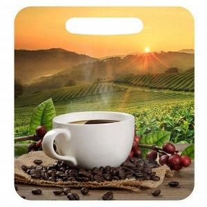 """Доска разделочная Л-8 малая 19,5х21см деревянная с рисунком """"Утренний кофе"""""""