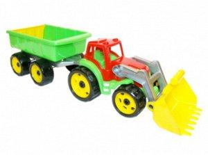 Трактор с ковшом и прицепом 65*17*16 см