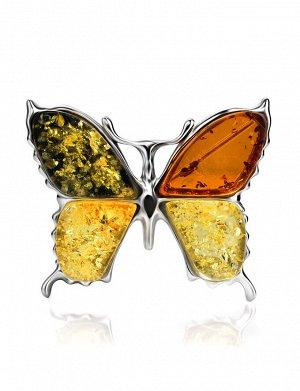 Яркая янтарная брошь в серебре «Апрель», 907905232