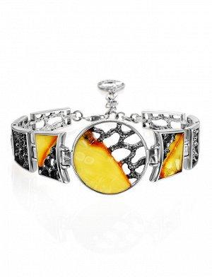 Эксклюзивный браслет из серебра и натурального балтийского янтаря «Модерн», 907706372
