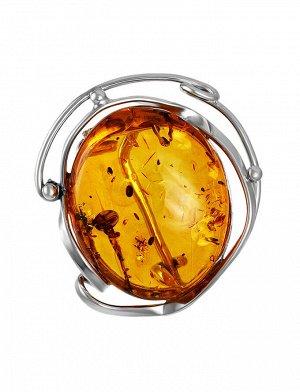 Изысканная подвеска-брошь из серебра и натурального балтийского янтаря «Риальто», 907908340