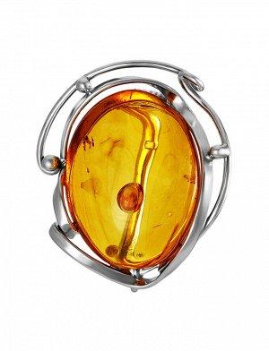Подвеска-брошь «Риальто» из серебра и золотистого янтаря, 907908341