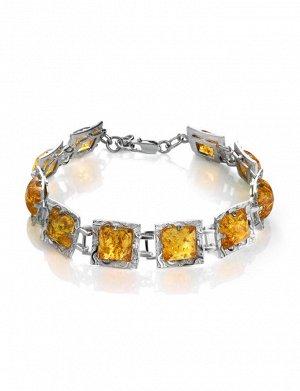 Стильный браслет из серебра со вставками из золотисто-коньячного янтаря «Авангард», 607706407
