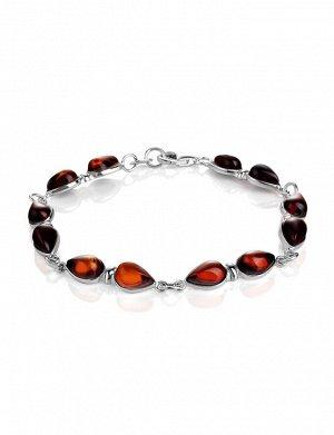 Яркий браслет «Эврика» из серебра и натурального янтаря вишнёвого цвета, 907704149