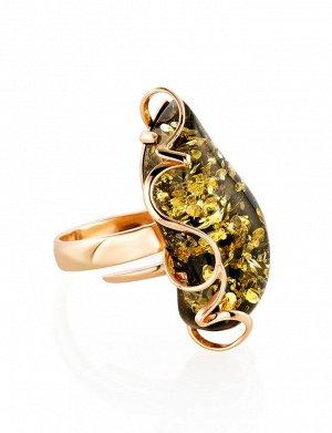 Роскошное золотое кольцо с зелёным янтарём «Риальто», 906209117