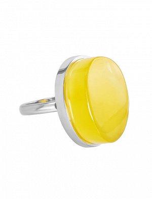 Объёмное серебряное кольцо «Глянец» со вставкой из колумбийского медового янтаря, 706312009