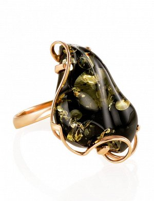 Очаровательное золотое кольцо с янтарём зелёного цвета «Риальто», 906209137