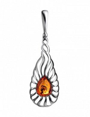 Удлинённый серебряный кулон с натуральным янтарём «Севилья», 901706061