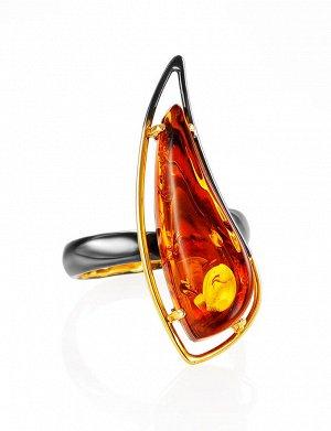 Стильное кольцо из золочёного серебра с янтарём «Палладио», 910007638