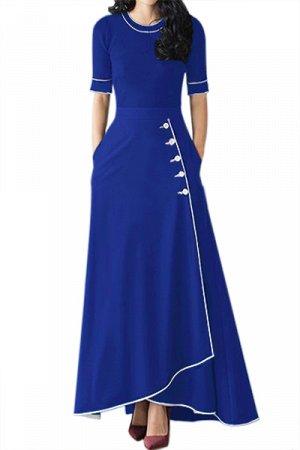 Ярко-синяя макси юбка с завышенной талией и запахом на пуговицах
