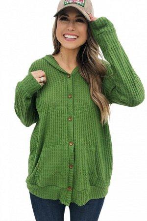 Зеленый вязаный кардиган-жакет на пуговицах и с карманами