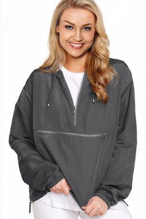 Серая куртка-ветровка на молнии и с капюшоном