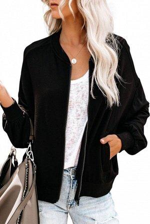 Черная куртка-бомбер на молнии и с карманами