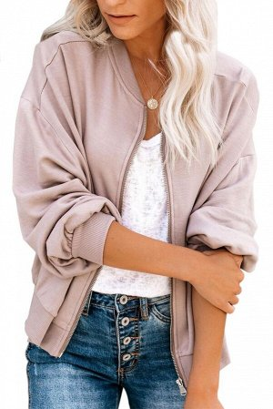 Розовая куртка-бомбер на молнии и с карманами