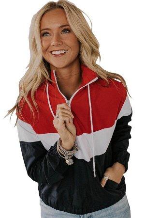 Красно-бело-черная куртка с капюшоном и застежкой на молнию