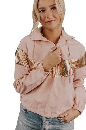 Розово-золотистая куртка с капюшоном и застежкой на молнию