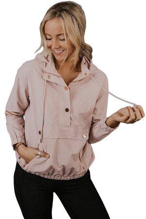 Розовая куртка с капюшоном и карманами на молниях