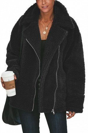 Черный меховой жакет на молнии с отложным воротником и карманами