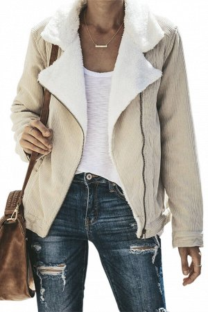 Бежевая куртка-жакет на молнии и с отложным белым воротником