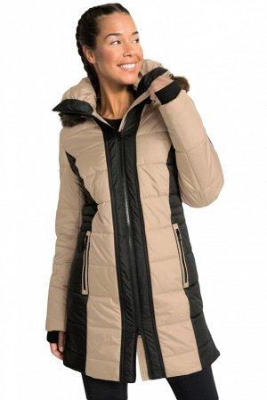 Бежево-черная  куртка трапециевидного силуэта на молнии и с карманами