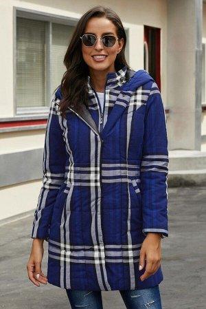 Синяя в клетку приталенная куртка с капюшоном и карманами