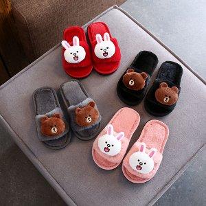 домашние тапочки детские  красные с зайцами