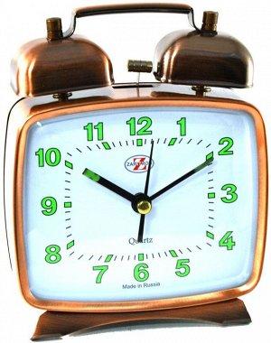 Будильник Тип механизма: Кварцевый Корпус: Латунь Минеральное стекло ГАБАРИТЫ (В\Ш\Г) : 120-100-40 (мм.)