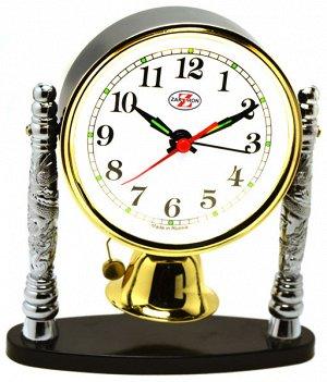 Будильник Тип механизма: Кварцевый Корпус: Латунь Минеральное стекло ГАБАРИТЫ (В\Ш\Г) : 155-115-60 (мм.)