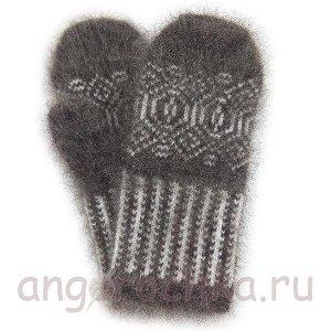 Женские пуховые варежки с орнаментом - 304.16