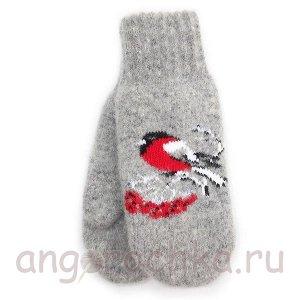 Серые женские варежки со снегирями - 305.163