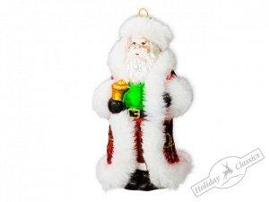 Дед Мороз в красной шубе с меховой опушкой (стекло) 7,6х14 см