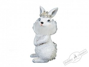 Кролик в белой шубке с меховым воротником 4х8,3 см
