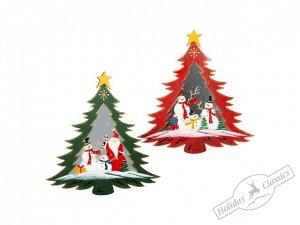 """Панно """"Елочка"""" с рождественским рисунком асс. из 2-х (мет/стекло) 32,5х34,5 см"""