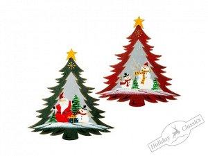 """Панно """"Елочка"""" с рождественским рисунком асс. из 2-х (мет/стекло) 26х27,5 см"""