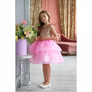 Платье детское KAFTAN, рост 98-104 см (30), золотой/розовый