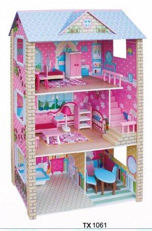Деревянные игрушки: Кукольный дом ТХ1061 (1/1)  (разм.77.5*35*118см)