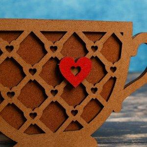 """Кашпо деревянное 18.3?8.1?11 см уникальное """"Чашечка чая, с сердцем"""", морёный"""
