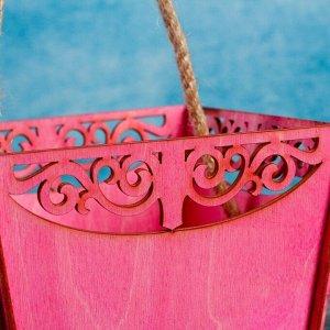 """Кашпо деревянное 17.9?14.2?17.3 см """"Корзина счастья"""", ручка верёвка, розовый"""