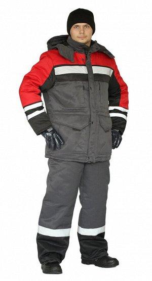 """Костюм зимний """"ЗИМНИК"""" куртка/брюки, цвет: т.серый/черный/красный"""
