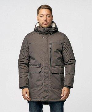 . Серый; Черный;    POO 9375 Стильная мужская куртка-парка, изготовлена из качественной ветрозащитной ткани с водоотталкивающим покрытием. Двухсторонняя основная молния (возможность расстегнуть куртк