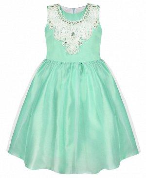 Нарядное платье для девочки ментолового цвета 84031-ДН19