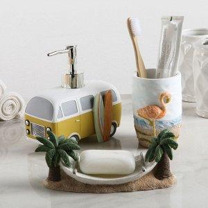Набор аксессуаров для ванной комнаты «Малибу», 3 предмета (дозатор 400 мл, мыльница, стакан)