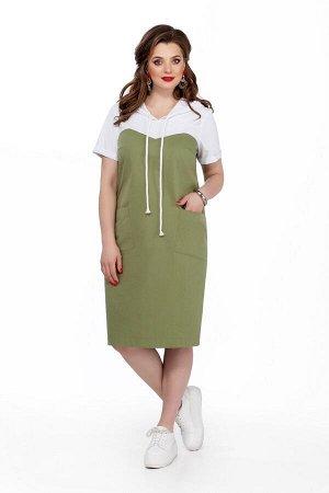 Платье Платье TEZA 193 олива  Состав ткани: Хлопок-96%; Эластан-4%;  Рост: 164 см.  Платье женское прямого силуэта с втачными рукавами. Платье двухцветное: Капюшон, рукава и кокетки белые, а низ цвет