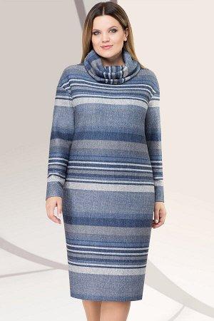 Платье Платье Lenata 11956 сине-голубая полоска  Состав ткани: Вискоза-25%; ПЭ-65%; Спандекс-4%; Люрекс-6%;  Это теплое стильное платье из трикотажа с люрексом идеально подойдет для осенне-зимнего пе