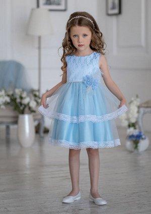 Амита нарядное платье голубой