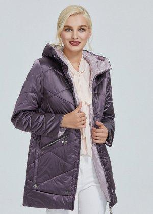 Демисезонная женская куртка на контрастом подкладе, с капюшоном, цвет фиолетовый