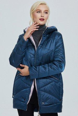 Демисезонная женская куртка на контрастом подкладе, с капюшоном, цвет синий